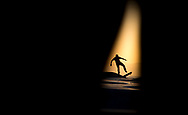 A skateboarder rides at Venice Skatepark during the golden hour on May 19, 2017.<br /> <br /> photo by Samuel Navarro