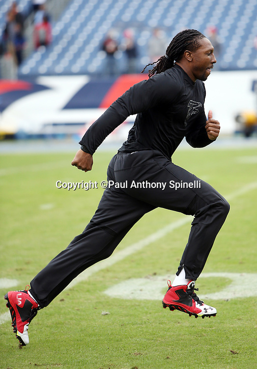 Atlanta Falcons wide receiver Roddy White (84) goes out for a pregame pass while warming up before the 2015 week 7 regular season NFL football game against the Tennessee Titans on Sunday, Oct. 25, 2015 in Nashville, Tenn. The Falcons won the game 10-7. (©Paul Anthony Spinelli)