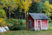 Rustic autum shed, North Grosvenor Dale, Connecticut, USA.