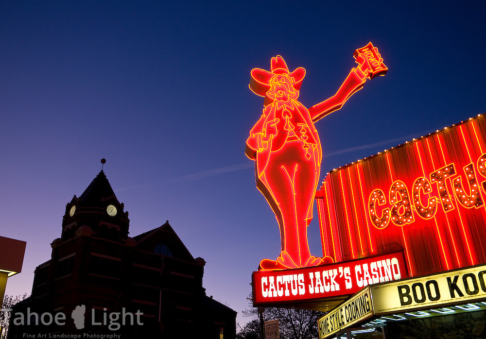 Neon sign on Cactus Jack's Casino at sunrise in Carson City, NV. - Cactus Jack Tahoe Landscape Photography