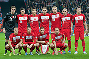 (UP) goalkeeper Wojciech Szczesny &amp; Robert Lewandowski  &amp; Grzegorz Wojtkowiak &amp; Artur Jedrzejczyk&amp; Kamil Glik &amp; Mariusz Lewandowski &amp; Grzegorz Krychowiak &amp; (DOWN) Piotr Celeban &amp;  Waldemar Sobota &amp; Jakub Blaszczykowski &amp; Adrian Mierzejewski pose to team photo before the 2014 World Cup Qualifying Group H football match between England and Poland at Wembley Stadium in London on October 15, 2013.<br /> <br /> Great Britain, London, October 15, 2013<br /> <br /> Picture also available in RAW (NEF) or TIFF format on special request.<br /> <br /> For editorial use only. Any commercial or promotional use requires permission.<br /> <br /> Mandatory credit:<br /> Photo by &copy; Adam Nurkiewicz / Mediasport
