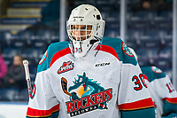 KELOWNA, CANADA - FEBRUARY 23: Roman Basran #30 of the Kelowna Rockets skates on the ice during warm up against the Kamloops Blazers  on February 23, 2019 at Prospera Place in Kelowna, British Columbia, Canada.  (Photo by Marissa Baecker/Shoot the Breeze)