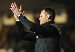 Newport County manager Michael Flynn thanks fans after the final whistle  - Mandatory by-line: Nizaam Jones/JMP- 23/01/2018 - FOOTBALL - Rodney Parade - Newport, Wales- Newport County v Morecambe - Sky Bet League Two
