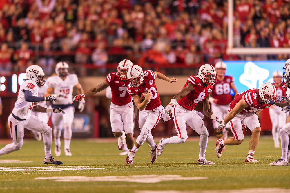 Nebraska's Jordan Ober returns a South Alabama fumble  at Memorial Stadium in Lincoln, NE, Saturday Sept. 12, 2015. Photo by Daniel James Murphy, Hail Varsity