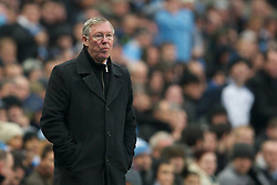 MANCHESTER, ENGLAND - Sunday, January 8, 2012: Manchester United's manager Alex Ferguson during the FA Cup 3rd Round match against Manchester City at the City of Manchester Stadium. (Pic by David Rawcliffe/Propaganda)