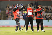 Liam Trevaskis of Durham Jets gets another wicket during the Vitality T20 Blast North Group match between Lancashire Lightning and Durham Jets at the Emirates, Old Trafford, Manchester, United Kingdom on 7 August 2018.