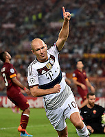 Uefa Champions League-2014-2015 / Group E / <br /> As Roma vs Fc Bayern Munich 1-7  ( Olympic Stadium, Roma - Italy ) <br /> Arjen Robben of Fc Bayern Munich , celebrates after his is 2nd Goal (0-4) ,<br /> during the match between As Roma and Fc Bayern Munich