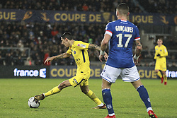 December 13, 2017 - Strasbourg, France - ANGEL DI MARIA of PSG controls the ball during the french League Cup match, Round of 16, between Strasbourg and Paris Saint Germain on December 13, 2017 in Strasbourg, France. (Credit Image: © Elyxandro Cegarra/NurPhoto via ZUMA Press)