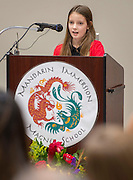 Eden Roberts comments during the dedication and ribbon cutting for the Mandarin Immersion Magnet School, October 24, 2016.
