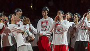 "Wisconsin teammates introduce Frank ""The Tank"" Kaminsky at pep rally. (Photo © Andy Manis)"