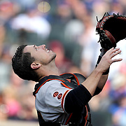 NEW YORK, NEW YORK - APRIL 30:  Buster Posey #28 of the San Francisco Giants catching during the New York Mets Vs San Francisco Giants MLB regular season game at Citi Field on April 30, 2016 in New York City. (Photo by Tim Clayton/Corbis via Getty Images)