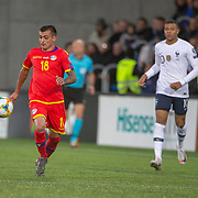 ANDORRA LA VELLA, ANDORRA. June 1. Jesus Rubio #18 of Andorra  in action during the Andorra V France 2020 European Championship Qualifying, Group H match at the Estadi Nacional d'Andorra on June 11th 2019 in Andorra (Photo by Tim Clayton/Corbis via Getty Images)