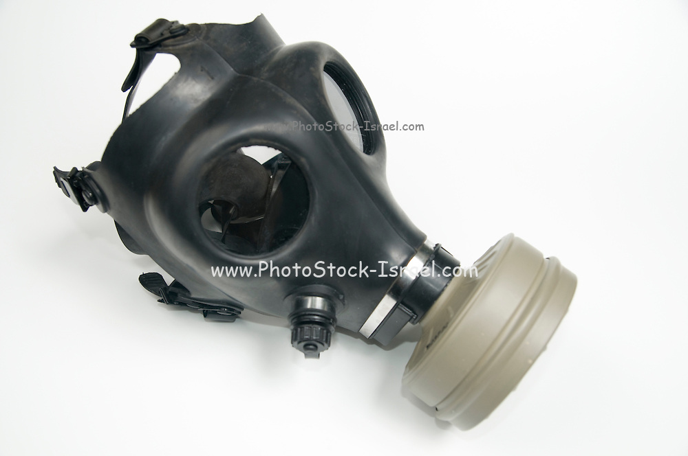 Cutout of a Gas Mask on white background elevated side view