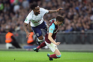 Sam Byram of West Ham United (R) sends Danny Rose of Tottenham Hotspur (L) flying. EFL Carabao Cup, 4th round match, Tottenham Hotspur v West Ham United at Wembley Stadium in London on Wednesday 25th October 2017.<br /> pic by Steffan Bowen, Andrew Orchard sports photography.