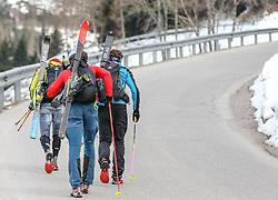 22.03.2018, Pichl-Preunegg bei Schladming, AUT, Red Bull Der lange Weg, Überquerung Alpenhauptkamm, längste Skitour der Welt, im Bild v. l. Philipp Reiter (GER), Bernhard Hug (SUI), David Wallmann (AUT) // during the Red Bull Der lange Weg, crossing of the main ridge of the Alps, longest ski tour of the world, in Pichl-Preunegg near Schladming, Austria on 2018/03/22. EXPA Pictures © 2018, PhotoCredit: EXPA/ Martin Huber