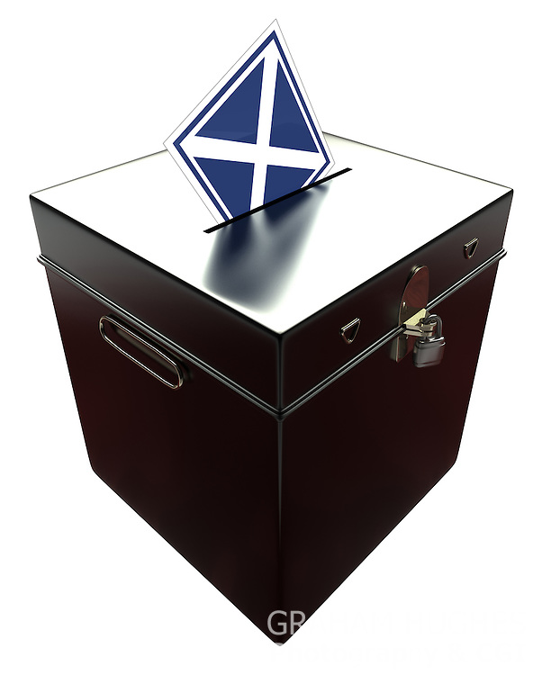"Black Ballot Box with Scottish Flag as ""X"" Voting Slip. Cut out on white background."