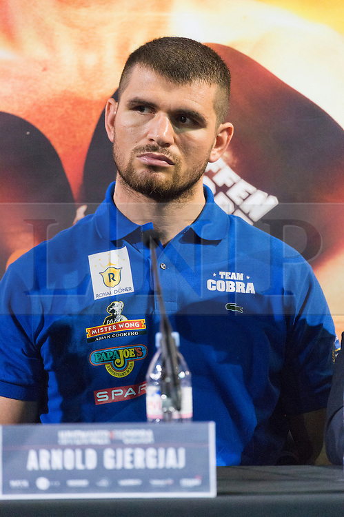 © Licensed to London News Pictures. 18/05/2016. Heavyweight boxer Arnold Gjergjaj take part on a press conference before their fight at the O2 on Saturday 21st May 2016.  London, UK. Photo credit: Ray Tang/LNP