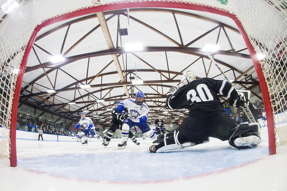 E.J. Rauseo during the third period of a NCAA Division III hockey game between Colby College and Bowdoin College on December 4, 2015 at Alfond Rink on the campus of Colby College in Waterville, ME.  (Dustin Satloff)