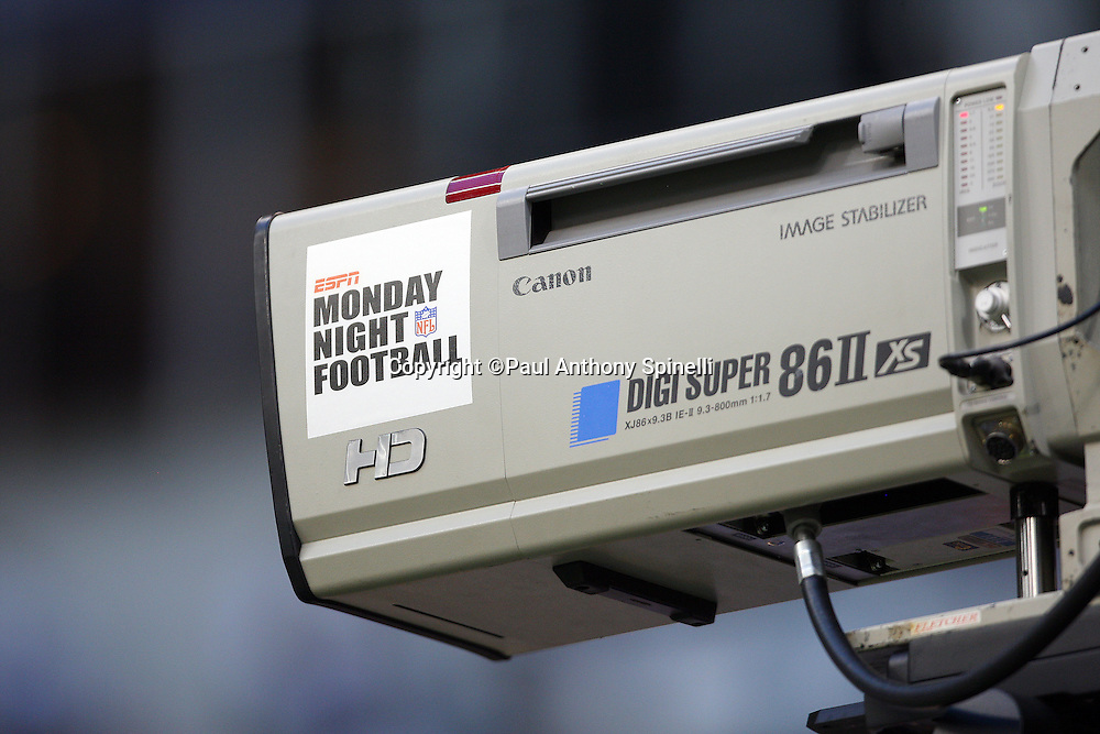 IRVING, TX - SEPTEMBER 15:  A television camera displays a Monday Night Football sticker at the Dallas Cowboys game against the Philadelphia Eagles at Texas Stadium on September 15, 2008 in Irving, Texas. The Cowboys defeated the Eagles 41-37. ©Paul Anthony Spinelli