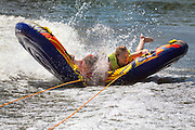 Izzy Kellner and Elke Roemer tubing on the Fox River in De Pere, Wisconsin.  Photo by Mike Roemer