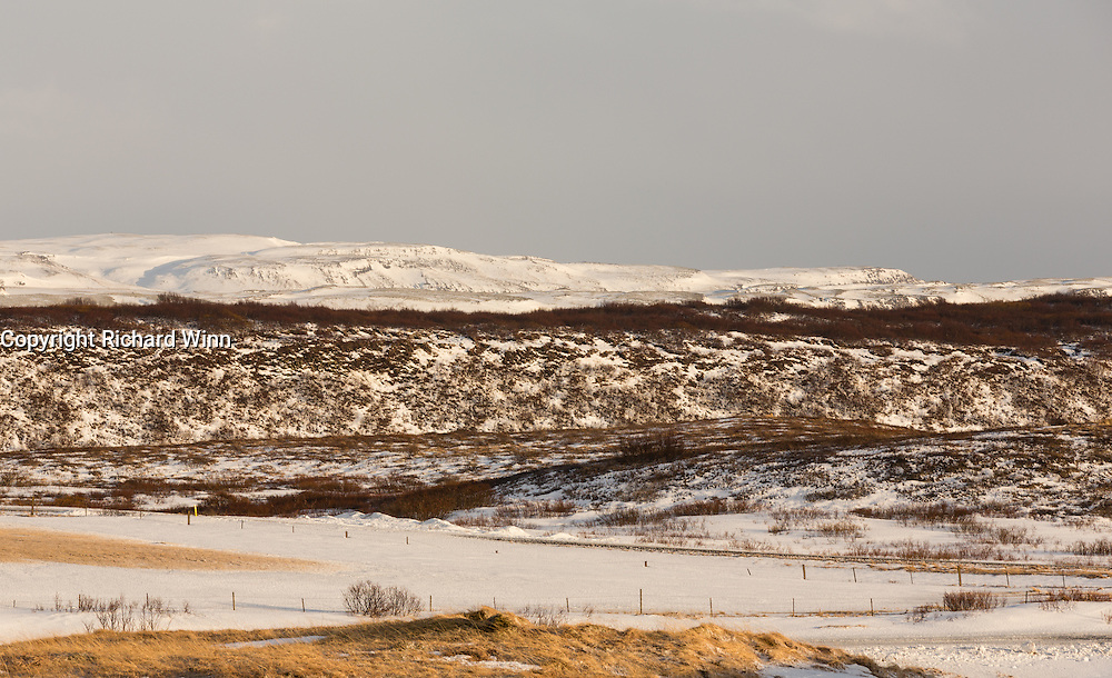 Looking east from north of Reykholt, towards the direction of Hekla.
