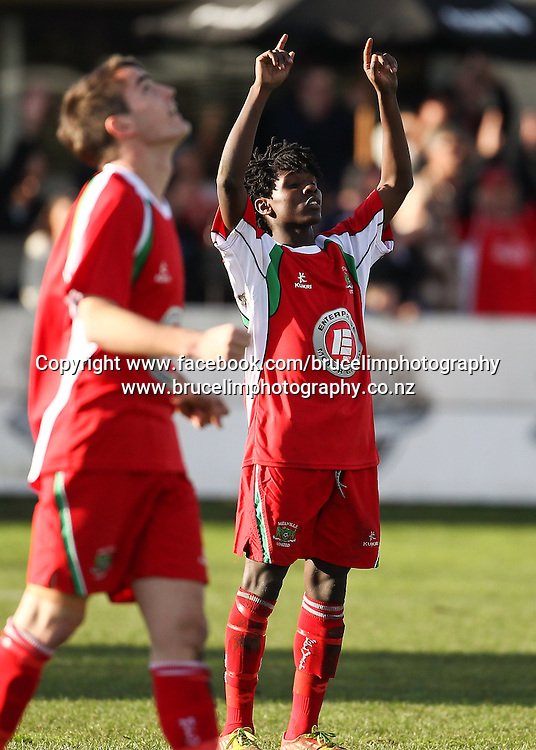 Melville United's Shaun Kipara celebrates after the ASB Chatham Cup soccer quarter final match, Melville United AFC v Birkenhead United AFC at Gower Park, Melville, Hamilton on Saturday 27 July 2013.  Photo:  Bruce Lim / photosport.co.nz