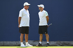 June 20, 2017 - London, United Kingdom - Former ATP World No.1 Ivan Lendl and Jamie Delgado are pictured on the lawn of AEGON Championships The Queen's Club, London on June 20, 2017. (Credit Image: © Alberto Pezzali/NurPhoto via ZUMA Press)