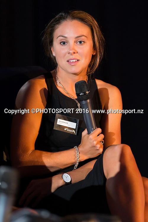 Julia Edward at the High Performance Sport NZ Waikato ceremony for the Prime Minister's Scholarship Awards, at Sir Don Rowlands Centre, Lake Karapiro, Cambridge, New Zealand, 20 April 2016. Copyright Photo: Stephen Barker / www.photosport.nz