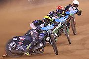 Fredrik Lindgren takes the lead during the 2019 Adrian Flux British FIM Speedway Grand Prix at the Principality Stadium, Cardiff, Wales on 21 September 2019.