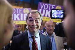 © Licensed to London News Pictures . 06/06/2014 . Newark , Nottinghamshire , UK . NIGEL FARAGE speaks to media after the result is declared . The count for the Newark by-election at Kelham Hall , Newark , this morning (Friday 6th June 2014) . Photo credit : Joel Goodman/LNP