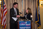 Elizabeth Colbert Busch, sister of comedian Stephen Colbert, shakes hands with Martin Skelly after he withdrew from the democrat primary for the 1st Congressional District and gave his support to Colbert Busch on February 11, 2013 in Charleston, South Carolina. The special election will be held in May to replace Rep. Tim Scott who filled the open Senate seat vacated by Senator Jim DeMint.