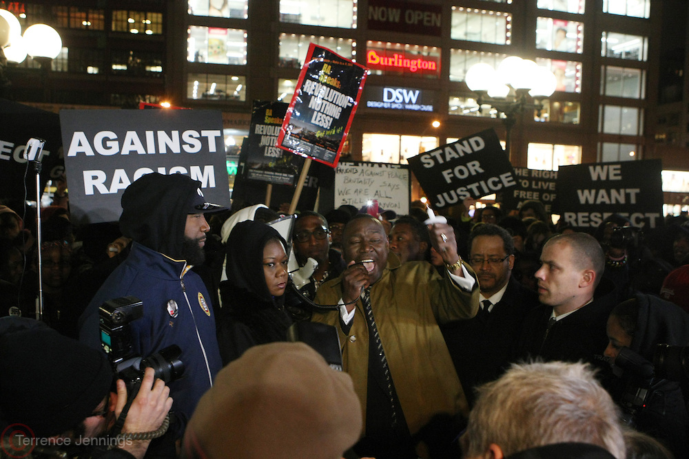 """New York, NY-February 26: (L-R) Tracy Martin, Sabrina Fulton, Attorney Benjamin Crump, Dr. Michael Eric Dyson and Michael Skolnik attend the """" Million Hoodie """"  Candlelight vigil honoring the one-year anniversary of Trayvon Martin's death held at Union Square Park on February 26, 2013 in New York City.© (Terrence Jennings)"""