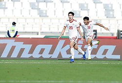 2019?1?12?.   ??????1???——D?????????.    1?12??????????·????????????????? .    ??????????????2019???????D?????????2?0??????.    ????????..(SP)UAE-AL AIN-SOCCER-AFC ASIAN CUP 2019-GROUP D-VNM VS IRN..(190112) -- ABU DHABI, Jan. 12, 2019  Iran's Sardar Azmoun (L) celebrates after his second goal during the 2019 AFC Asian Cup group D match between Vietnam and Iran at the Al Nahyan Stadium in Abu Dhabi, the United Arab Emirates, Jan. 12, 2019. Iran won the match by 2-0. (Credit Image: © Xinhua via ZUMA Wire)