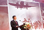 KUNMING, CHINA - SEPTEMBER 06: (CHINA OUT)<br /> <br /> Flying Tiger Veterans Visit The Cultural Relics Exhibition Of The Flying Tigers In Kunming<br /> <br /> Kunming Party Secretary Cheng Lianyuan speaks during the Honorary Citizenship of the city of Kunming during the Ceremony of Conferring the Certificate of Kunming Honorary Citizen on September 6, 2015 in Kunming, Yunnan Province of China. 17 veterans of Flying Tiger received the Honorary Citizenship of Kunming, since they took part in the World War II here in Kunming with Chinese Army.<br /> <br /> The 1st American Volunteer Group (AVG) of the Chinese Air Force in 1941–1942, nicknamed the Flying Tigers, was composed of pilots from the United States Army Air Corps (USAAC), Navy (USN), and Marine Corps (USMC), recruited under presidential authority and commanded by Claire Lee Chennault. The shark-faced nose art of the Flying Tigers remains among the most recognizable image of any individual combat aircraft or combat unit of World War II.<br /> ©Exclusivepix Media