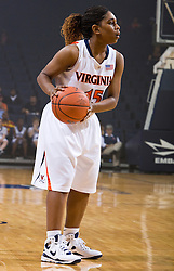 Virginia guard Ariana Moorer (15) in action against High Point.  The #15 ranked Virginia Cavaliers defeated the High Point Panthers 78-48 in NCAA Women's Division 1 Basketball at the John Paul Jones Arena on the Grounds of the University of Virginia in Charlottesville, VA on November 14, 2008.