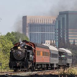 Granite Rock no. 10 Steam Engine Travels near the Waterfront in Sacramento