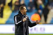 Millwall Manager Gary Rowett celebrates at full time during the EFL Sky Bet Championship match between Millwall and Reading at The Den, London, England on 18 January 2020.