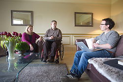 UK ENGLAND HARLOW 23FEB15 - Martin Pistorius with his wife Joanne during SPIEGEL-interview with Jonathan Stock (R). Pistorius is the author of the 2011 book Ghost Boy, in which he describes living with locked-in syndrome and being unable to move for 12 to 14 years.<br /> <br /> <br /> jre/Photo by Jiri Rezac<br /> <br /> © Jiri Rezac 2015