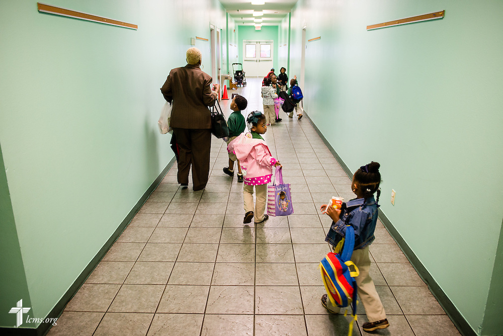 Victoria Richardson leads her preschool students to the classroom at Trinity Evangelical Lutheran School on Monday, April 7, 2014, in Mobile, Ala. LCMS Communications/Erik M. Lunsford