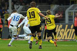 "28.01.2012, Signal Iduna Park, Dortmund, GER, 1. FBL, Borussia Dortmund vs 1899 Hoffenheim, 19. Spieltag, im Bild Fabian Johnson (Hoffenheim #16) Torschuetze, macht den Anschlusstreffer // during the football match of the german ""Bundesliga"", 19th round, between GER, 1. FBL, Borussia Dortmund and 1899 Hoffenheim, at the Signal Iduna Park, Dortmund, Germany on 2012/01/28. EXPA Pictures © 2012, PhotoCredit: EXPA/ Eibner/ Ulrich Roth..***** ATTENTION - OUT OF GER *****"