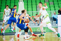 Jaka Blazic and Alen Omic of Slovenia during qualifying match between Slovenia and Kosovo for European basketball championship 2017,  Arena Stozice, Ljubljana on 31th August, Slovenia. Photo by Grega Valancic / Sportida