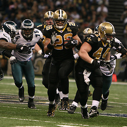 13 January 2007: New Orleans Saints FB Mike Karney (44) lead blocks for running back Deuce McAllister (26) during a 27-24 win by the New Orleans Saints over the Philadelphia Eagles in the NFC Divisional round playoff game at the Louisiana Superdome in New Orleans, LA. The win advanced the New Orleans Saints to the NFC Championship game for the first time in the franchise's history.