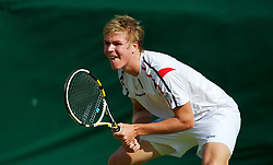 LONDON, ENGLAND - Saturday, June 30, 2012: Evan Hoyt (GBR) of Llanelli, Wales, during the Boys' Singles 1st Round match on day five of the Wimbledon Lawn Tennis Championships at the All England Lawn Tennis and Croquet Club. (Pic by David Rawcliffe/Propaganda)