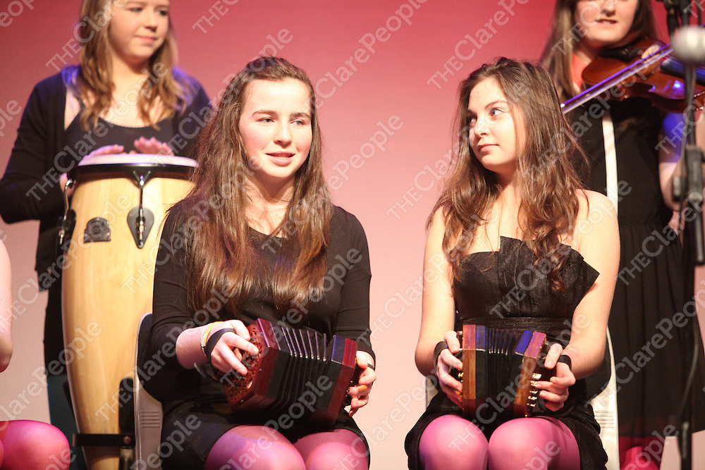 Caoimhe Morrissey and Ciara Mesckill pictured at the Rice Collage rehersal for the Spring Concert in Glor Ennis on Thursday.<br /> Pic. Brian Arthur/ Press 22.