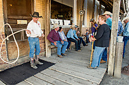 Cowboy, twirling rope, Jersey Lilly Saloon and Restaurant, Ingomar, Montana, ranch rodeo