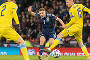 James Forrest (Celtic) tries to curl one into the far corner  during the UEFA European 2020 Qualifier match between Scotland and Kazakhstan at Hampden Park, Glasgow, United Kingdom on 19 November 2019.