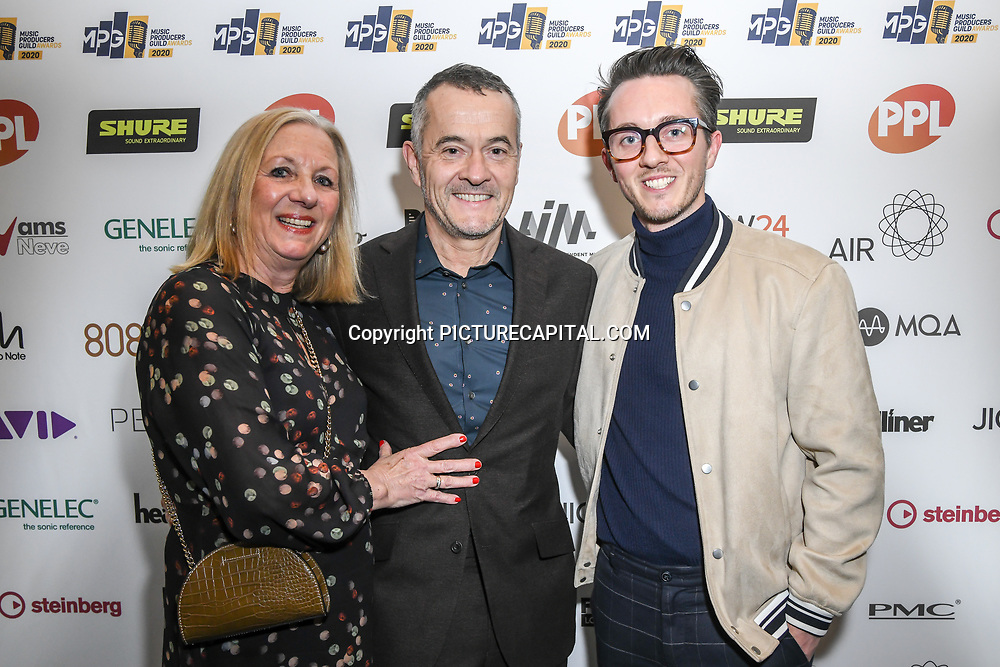 Stephen Street, wife and son attend The Music Producers Guild Awards at Grosvenor House, Park Lane, on 27th February 2020, London, UK.