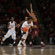10 December 2016: The San Diego State Aztecs men's basketball team host's Saturday afternoon at Viejas Arena. San Diego State guard Jeremy Hemsley (42) attempts to drive the ball around an Arizona State defender in the second half. The Aztecs fell to the Sun Devils 74-63. www.sdsuaztecphotos.com