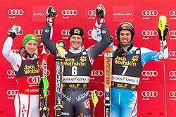 Second placed HIRSCHER Marcel  of Austria, winner KOSTELIC Ivica  of Croatia and third placed MATT Mario  of Austria celebrate at trophy ceremony after the 10th Men's Slalom - Pokal Vitranc 2013 of FIS Alpine Ski World Cup 2012/2013, on March 10, 2013 in Vitranc, Kranjska Gora, Slovenia. (Photo By Vid Ponikvar / Sportida.com)