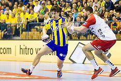 David Razgor #9 of RK Celje Pivovarna Lasko during handball match between RK Celje Pivovarna Lasko (SLO) and SG Flensburg Handewitt (GER) in 12th Round of EHF Men's Champions League 2015/16, on February 20, 2016 in Arena Zlatorog, Celje, Slovenia. Photo by Urban Urbanc / Sportida